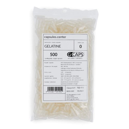 500 Leerkapseln, Gelatine, 0, transparent