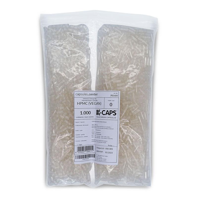 1000 Leerkapseln getrennt | getrennte Kapselhälften | vegan HPMC | Größe 0 (ca. 21mm) | transparent