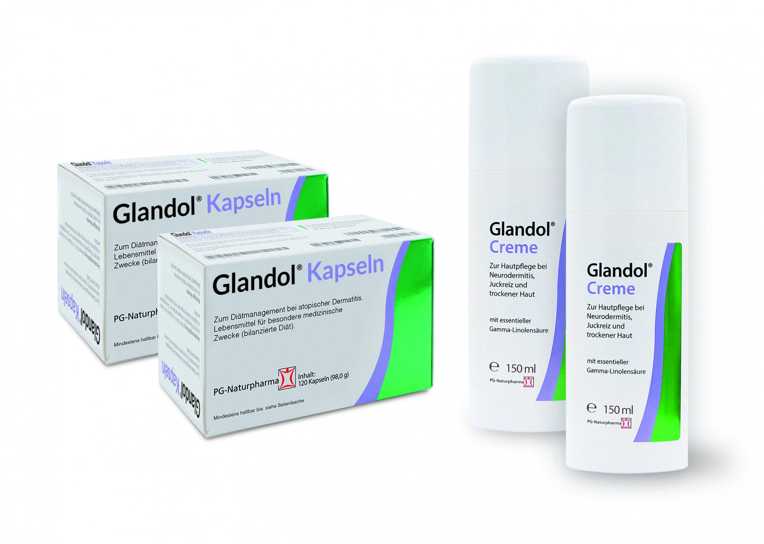 Glandol Kurpackung XL - 2x Glandol Creme 150ml & 2x Glandol Kapseln 120 Kapseln